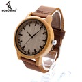 BOBO BIRD Relogio Masculino Wooden Watches Men Genuine Leather Band Strap Bamboo Pattern Nature Wood Novel