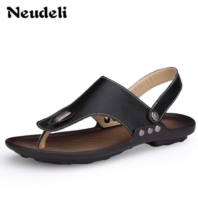 2016 новый натуральная кожа мужчины сандалии мода уютный мужские туфли два пользователя ...