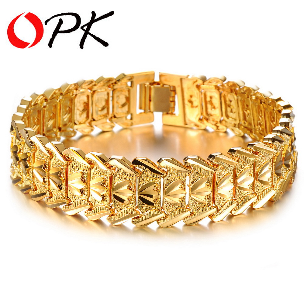 OPK Gold Plated Charm Man Bracelets & Bangles Classical 16.5mm Width Chunky Link Chain Personality Men Jewelry DM401(China (Mainland))