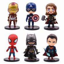 6 Pcs 9-10 centímetros de Super-heróis Homem De Ferro Capitão América Superman Spiderman Batman Figuras de Ação Presente Coleção Modelo De brinquedos das crianças(China)