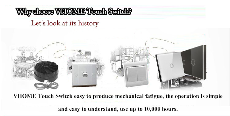 EU Standard VHOME Touch Switch 1 Gang 1 Way,Wall Light Touch Screen Switch,White Crystal Glass Switch Panel Touch Switch