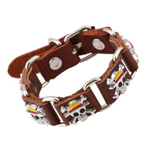 Fashion One piece Leather bracelets Hot Selling  bracelet & Bangle cosplay jewelry for boy men gift(China (Mainland))