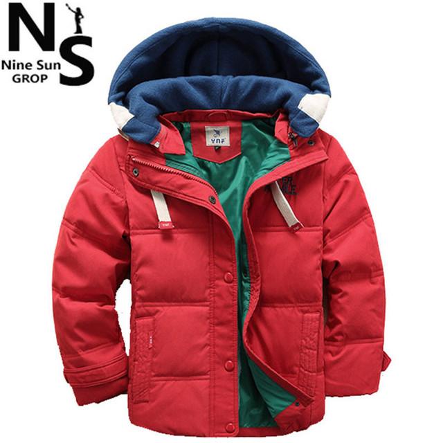 ТОП NS 2017 Новых мальчиков зимняя куртка пальто хлопка для мальчиков дети зимние одежда мальчики snowsuit дети верхней одежды 6 7 8 9 Лет