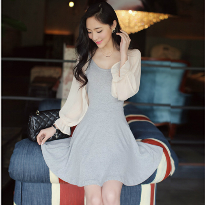 0924 2013 o-neck autumn knitted color block decoration expansion bottom one-piece dress - jim yue's store