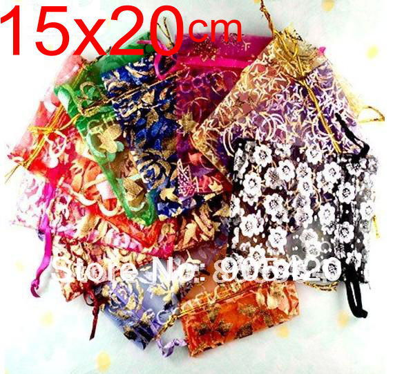 OMH 515x20cm 10color mix chinese Christmas Wedding voile gift bag Organza Bags Jewlery packing Gift Pouch BZ08 - Bead store