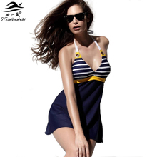 New Sexy Stripe Plus Size Padded Navy Blue Halter Skirt Swimwear Women One Piece Swimsuit Beachwear Bathing Suit Free Shipping