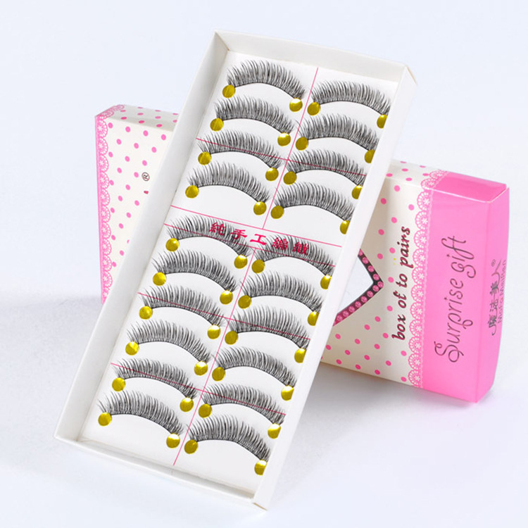 Arrivals 10 Pairs False Eyelashes Handmade Weave Natural Slim Curl Lashes Eyelash Extension Magic Beauty Women Makeup Tool - Moving Life store