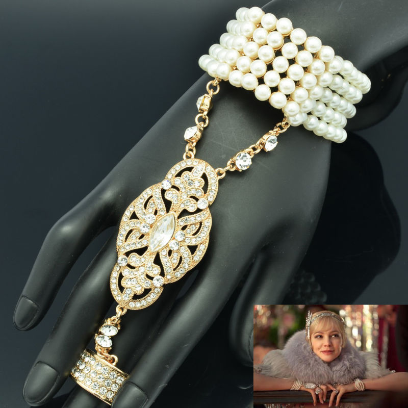 Gold Plated Great Gatsby Bracelet Ring Sets Pearl Bridal Wedding Clear Stretch Made Rhinestone Crystal - SEP Jewelry store