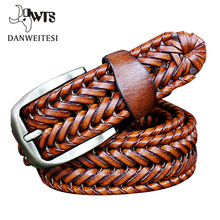 2016 New Belt Man Fashion Mens belts luxury genuine leather Brown braided Real Cow skin straps men Jeans Wide girdle Male 125 cm