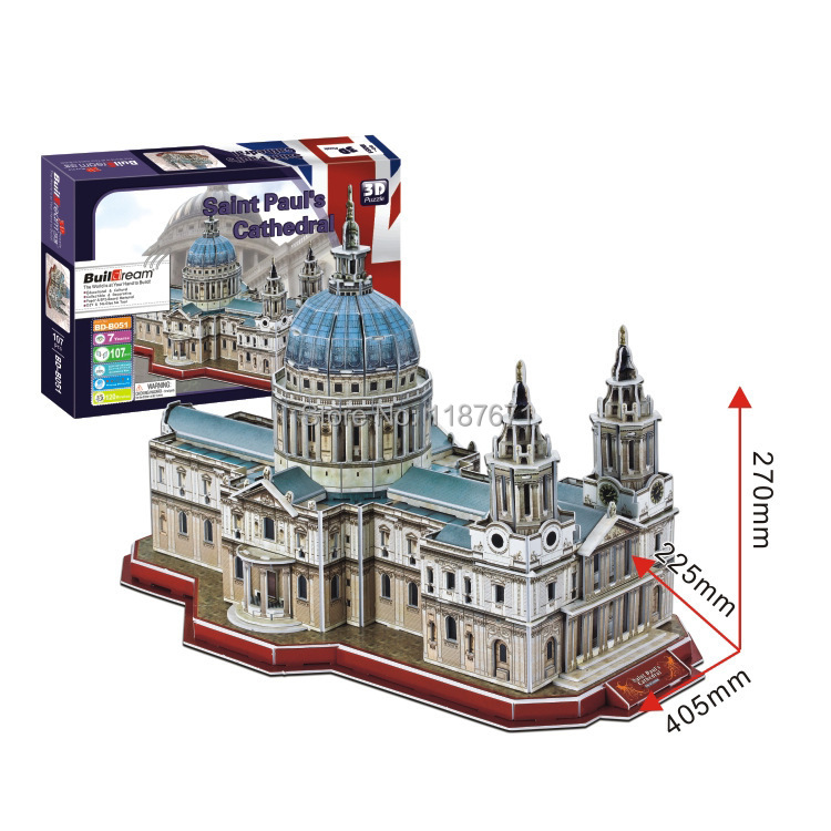Paper Model Diy Saint Paul's Cathedral Enlighten Blocks Construction Educational playmobil Toys scale models Sets brinquedos
