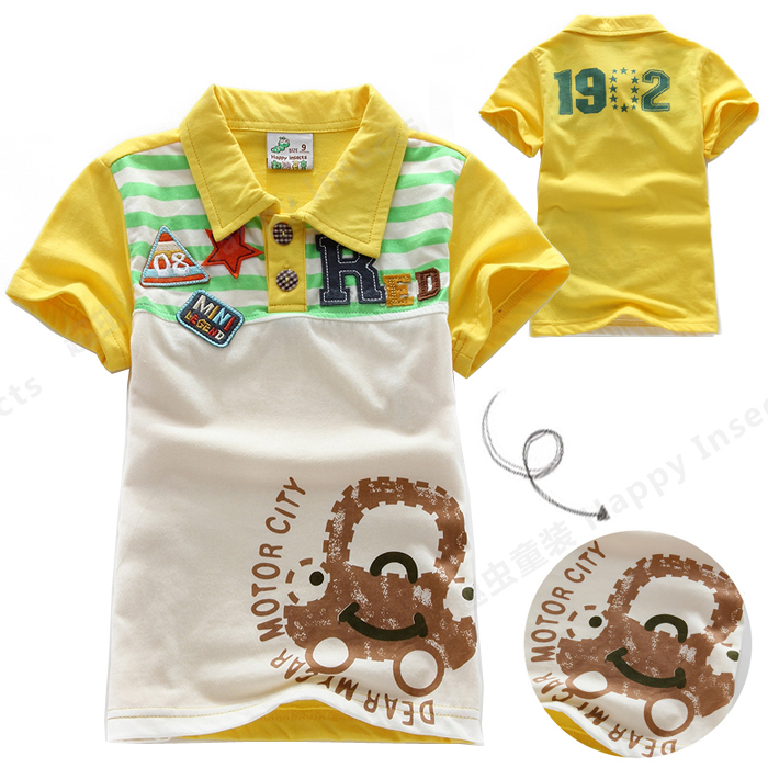 Summer Boys T-shirt tops cotton children t-shirt hot-selling children's male child clothing turn-down collar top 1170 - Happy insects or sago kids store