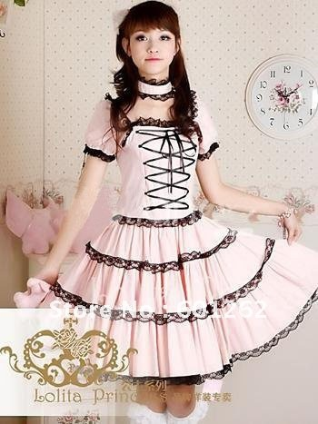 Anime Lolita Cosplay-Attractive Pink Short Sleeves Lolita Sweet Dress cosplay costume for halloween party (free shipping)