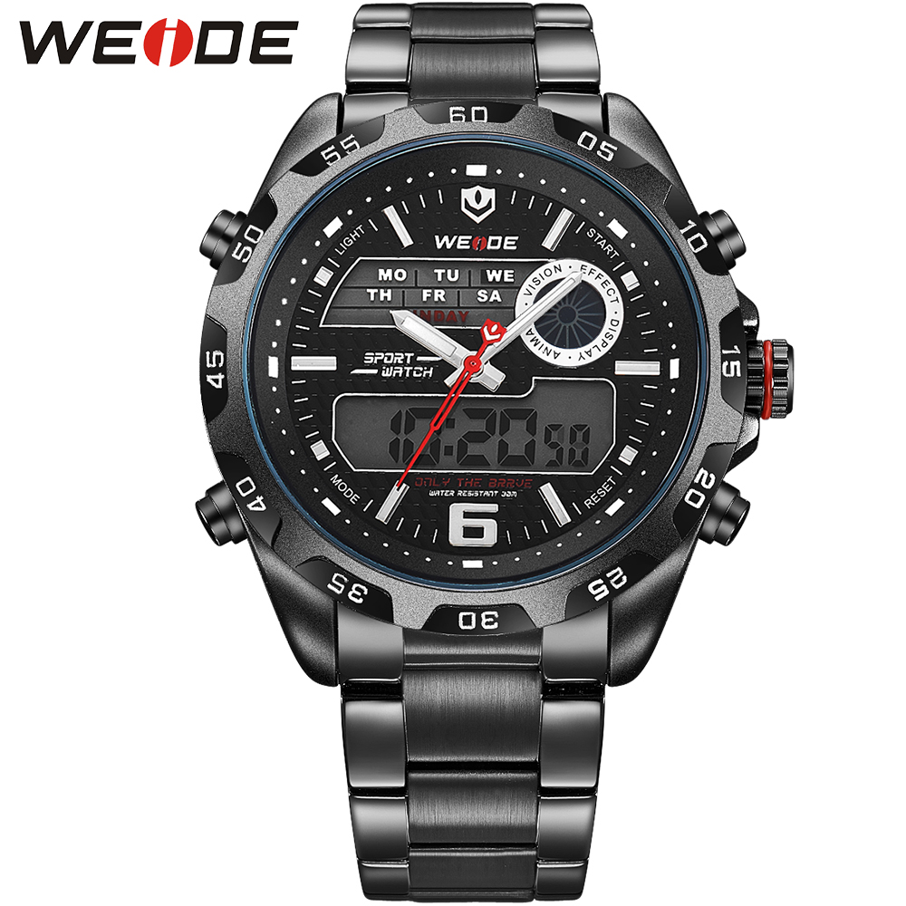WEIDE Fashion Quartz Watches Men Luxury Brand Mens Analog Digital Display Waterproof Black Stainless Steel Band Outdoor Watch<br><br>Aliexpress