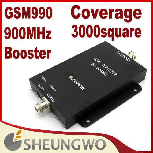 Direct Marketing Sunhans GSM990 signal booster 900MHz High power 75dbi Coverage 2000Square Mobile phone booster(China (Mainland))