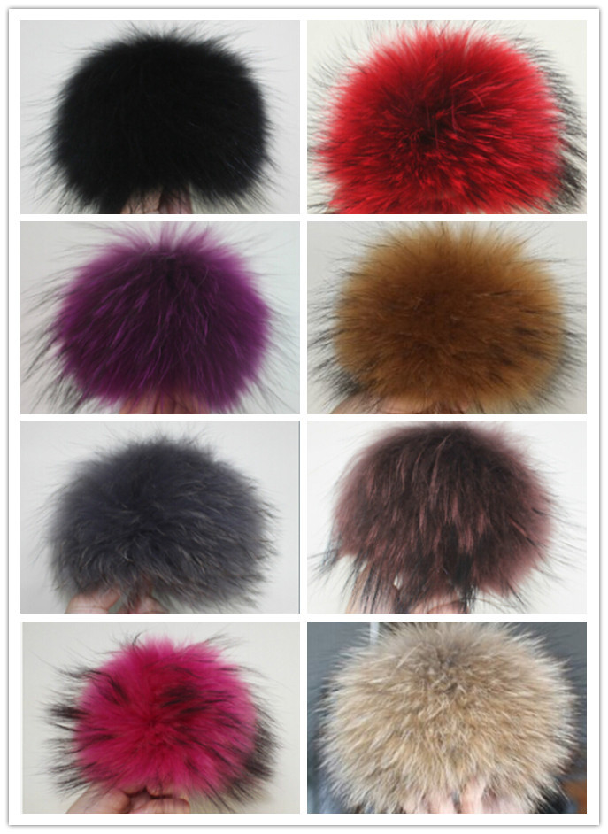 Mix color 10pcs charming Red Raccoon Fur PomPom 13cm for Beanies hats/cap/bags/clothes natural fur pom poms real fur balls(China (Mainland))