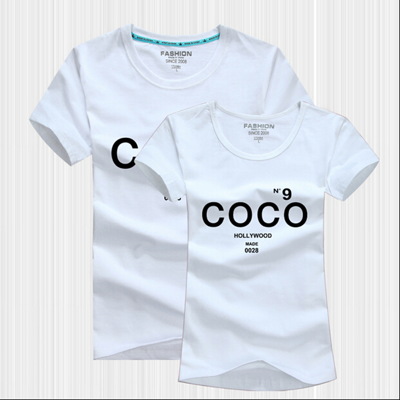 Summer Style Korean Matching Lovers T-Shirts Short Sleeve Cotton Print Fake CC Channel T Shirt Women Brand Couple Outfit - men left women right store