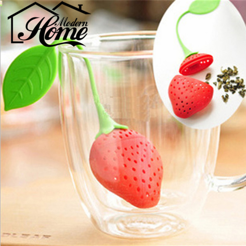 Tea Leaf Strainer Reuseable Red Lovely Silicone Strawberry Tea Bag Ball Stick Loose Herbal Spice Infuser Filter Tea Tool Novelty(China (Mainland))