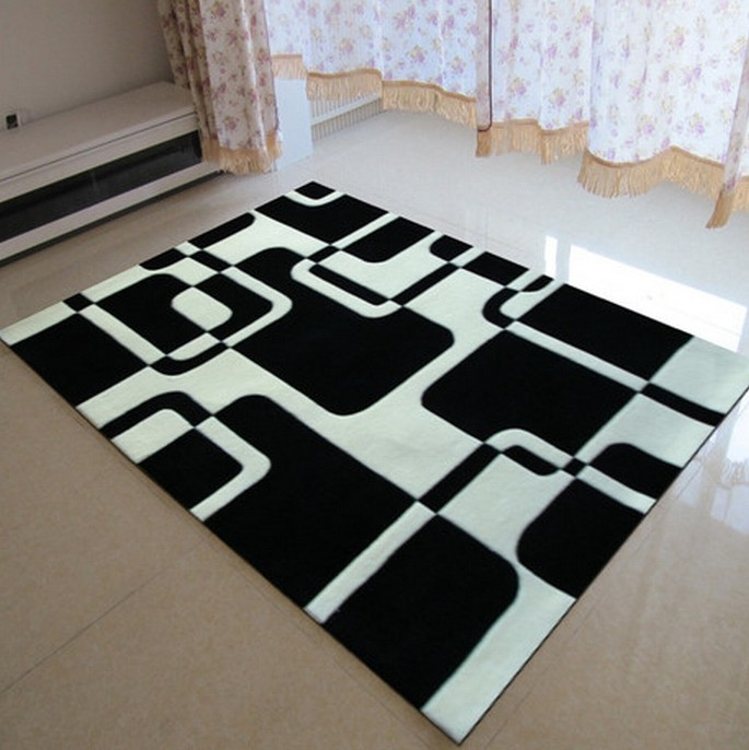Classical black and white carpet manual acrylic living - Tapis geometrique noir et blanc ...