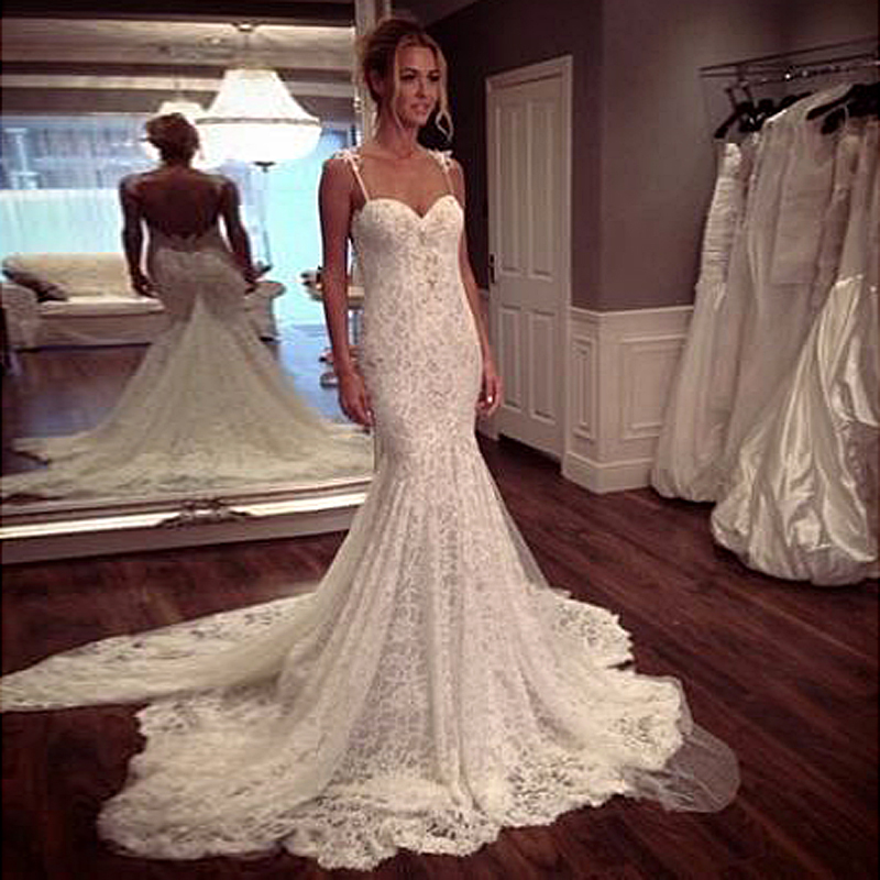 Mermaid 2016 sweetheart sleeveless spaghetti straps custom for Vintage wedding dresses for cheap