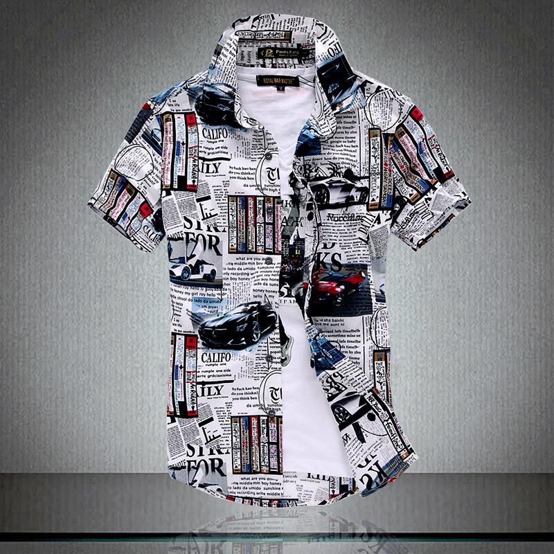 Men's Short Sleeve Shirts 2015 Fashion New Summer Beach Shirt British Style Man Slim Fit Floral camisas dos homens XXXL - su xiong clothing store
