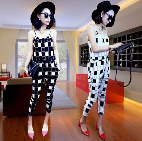J30*2014 new Women Checks Slim Jumpsuits Rompers Suspender Cropped Trousers Plus Size Casual strapless summer Capris harem pants - Way of Fashion store