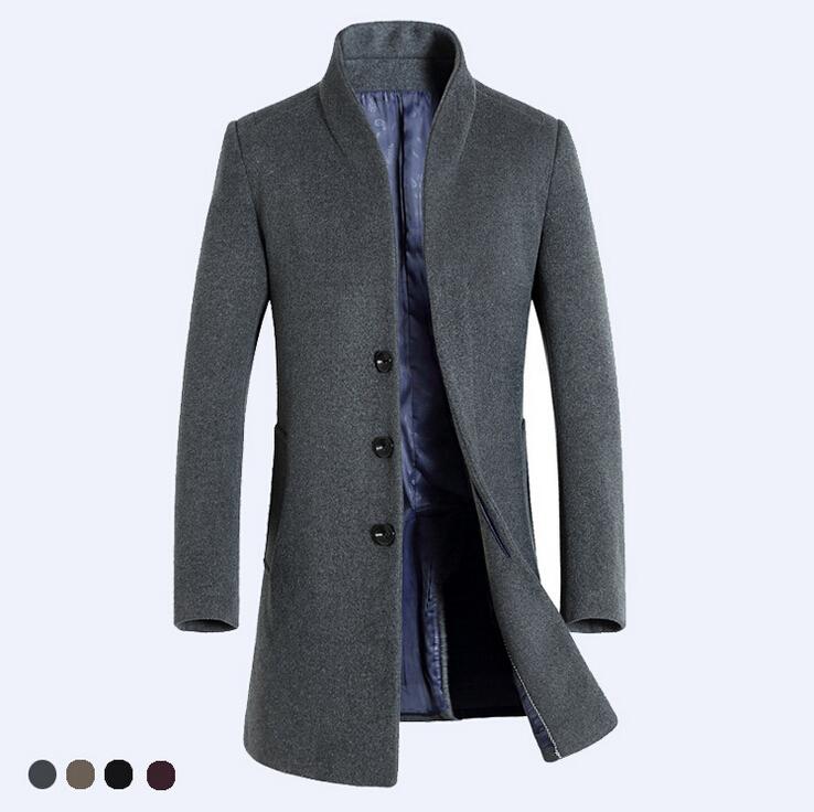 2015 New fashion mens Wool coat long trench jacket slim stand collar mens woolen coat outerwear coats dropship(China (Mainland))