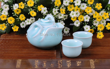 Chinese Longquan Kiln Celadon Ware Teapot and Teacups Mandarin Duck Tea Set