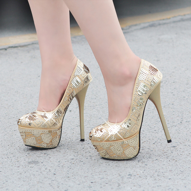 2013 sexy ultra high heels single shoes fashion paillette thin heels women's shoes platform round toe fashion shoes
