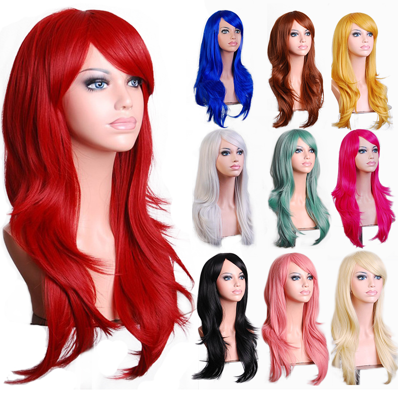 """28""""70 cm Long Wavy Black Red 10 Colors Synthetic Hair Anime Cosplay Wig,Halloween Holiday Party Womens Silver White Peruca Wig"""