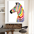 No Frame Colourful Horse Oil Painting Hand Printed Zebra Art Pictures On Canvas For Home Living