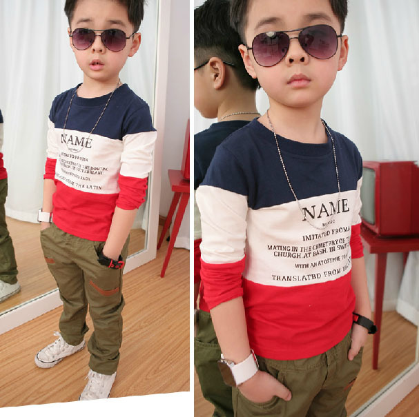 2015 fashion Size90-150 Spring  Autumn children t shirts for boys long sleeve T-shirts child clothings kids tops tees make up (China (Mainland))