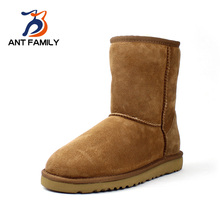 ANTFAMILY Natural Fur Snow Boots Women Winter Genuine Leather Mid Calf Boots Warm Australia Sheepskin Classic Fashion Snow Boots(China (Mainland))