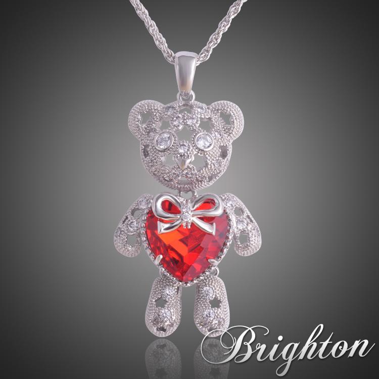 2015 New Fashion Red Blue Panda Ms. Sapphire Little Bear Heart Gift Kids Boy Gril Child Doll Jewelry Necklace Pendant(China (Mainland))