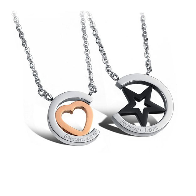 1 piece Fashion Couple Necklaces Stainless Steel Star & Heart Shape Pendant Necklace for Valentine Women Men gift(China (Mainland))