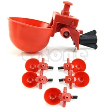 Free Shipping 5Pcs Automatic Bird Coop Feed Poultry Chicken Fowl Drinker Water Drinking Cups(China (Mainland))