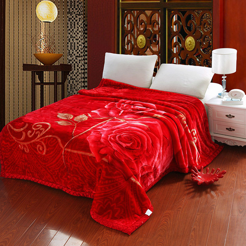 Thick raschel blankets big size floral rose print double face bedding throws red color wedding - Spots of color in the bedroom linens and throws ...