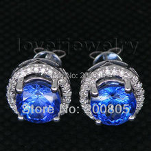 Vintage Round 7mm Solid 18Kt White Gold Diamond Tanzanite Earrings,Studs Earrings For Sale E0053(China (Mainland))