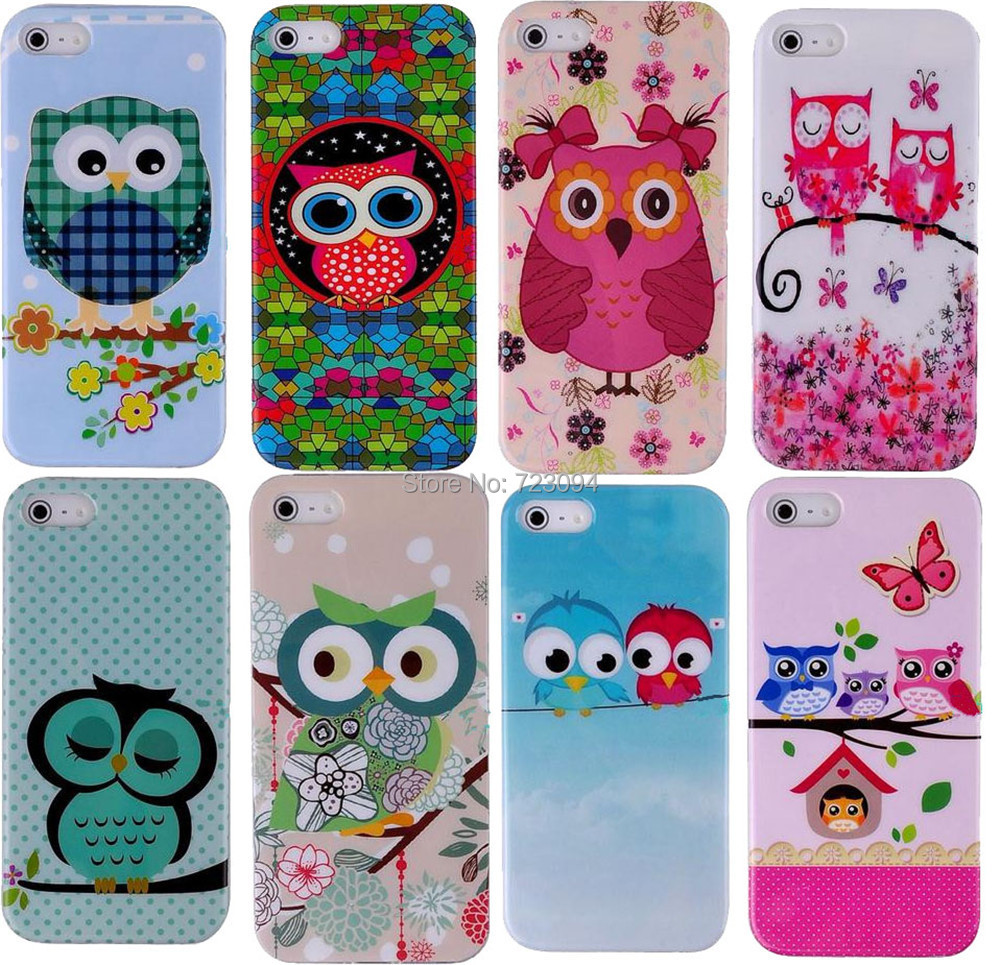 Lovely Hybrid Cartoon Owl Animal Pattern Hard PC Phone Cases Cover for iphone 4 5 5s 5c 6 Back Capa Shell EC610(China (Mainland))