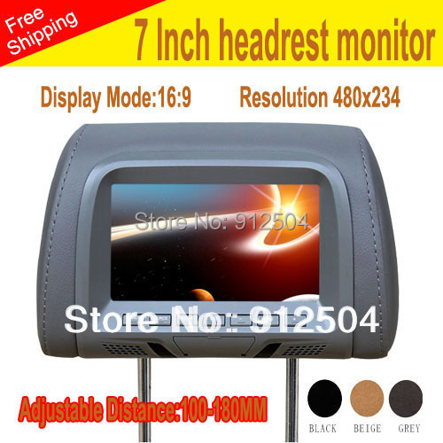 Car Monitor 7 inch LCD digital screen Headrest monitor adjustable distance 110-180MM gray black beige 3 colors - Shenzhen VOV Technology Co., Ltd. store