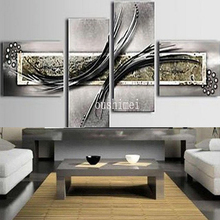 Buy Hand Painted 4pcs Modern Abstract Gery Pictures Canvas Oil Painting Living Room Handmade Wall Artwork Hang Picture Crafts for $50.49 in AliExpress store