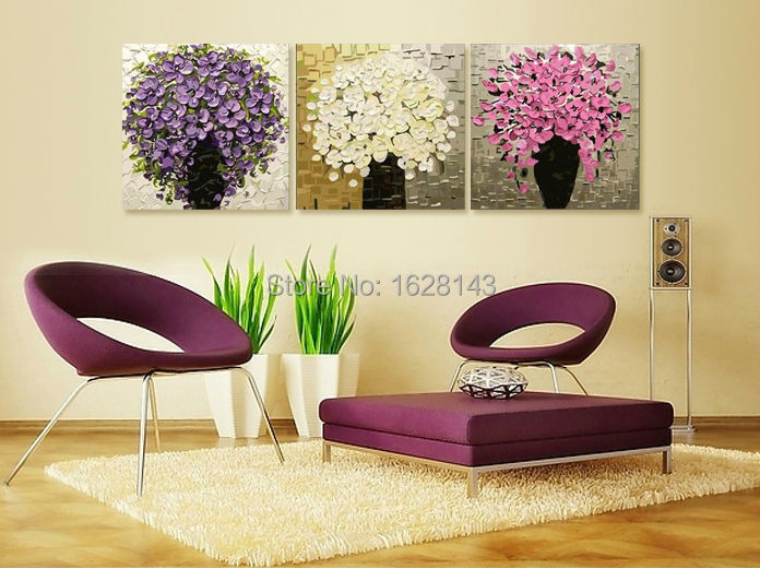 3 Pcs Hand Painted Modern Canvas Oil Paintings Thick Flower Tree Knife Painti