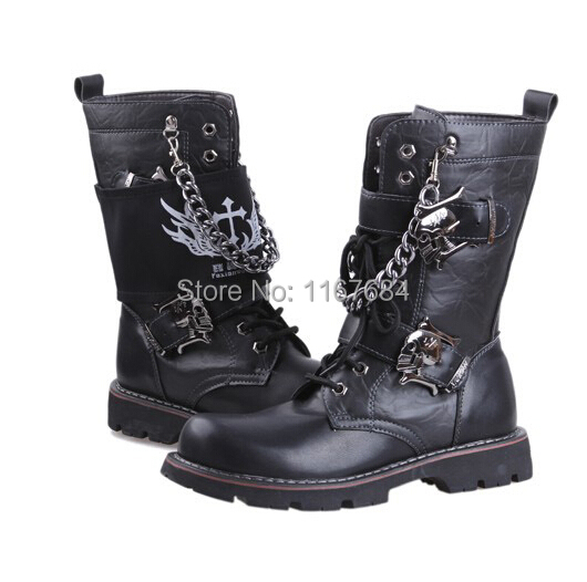 !! New Brand Punk Rocker Boots Martin Sub- Trend Men's Cowboy Costumes Stage Singer Shoes Army - Oriental integrity boutique shops store