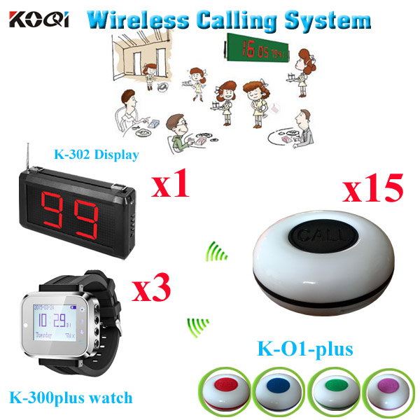 Wireless Calling System Call Button For Restaurant Wristhand Paging Transmitter Set(1 display with 3 watch and 15 call buzzer)(China (Mainland))