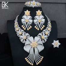 GODKI גדול יוקרה 4 יחידות אפריקאי נשים חתונה מעוקב זירקון קריסטל CZ אירוסין הודי זהב תכשיטי כלה סטים(China)