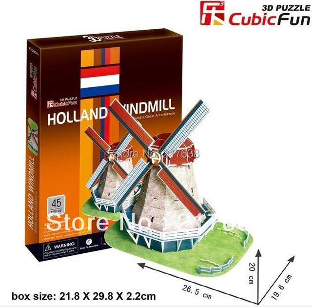 3D puzzle HOLLAND WINDMILL building model educational toy free shipping