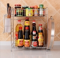 New Arrive Multi function Stainless Steel Storage Rack Kitchen Tools Holder Free Shipping