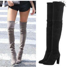 Women Stretch Faux Suede Thigh High Boots Sexy Fashion Over the Knee Boots High Heels Woman Shoes Black Gray Winered(China (Mainland))