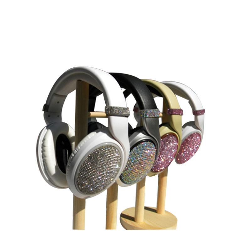 Newest Diamond earphones Music Fashion Rhinestones headphones with microphone Leather business headphone for mobile phone(China (Mainland))
