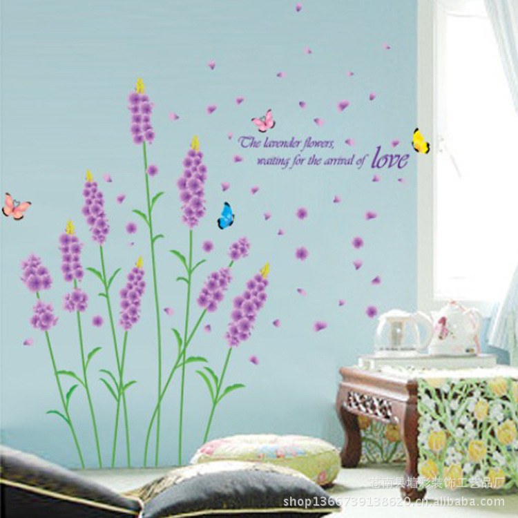 Purple Pollen Removable Wall Art Decal Sticker Diy Home: Purple Lavender And Butterfly Wall Stickers Sitting Room