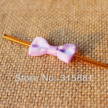 Purple Polka dot bowknot Twist Ties great for wedding favours, home baking & gift wrapping(China (Mainland))